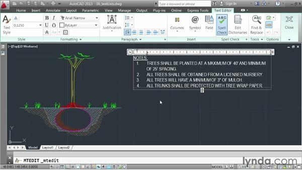 Creating bulleted and numbered lists: AutoCAD 2013 Essentials: 04 Annotating a Drawing