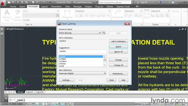 Correcting spelling errors: AutoCAD 2013 Essentials: 04 Annotating a Drawing