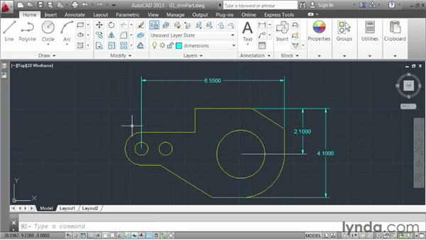 Creating general dimensions: AutoCAD 2013 Essentials: 04 Annotating a Drawing