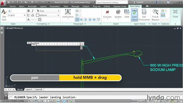 Creating multileaders: AutoCAD 2013 Essentials: 04 Annotating a Drawing