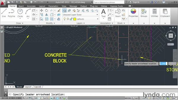 Modifying multileaders: AutoCAD 2013 Essentials: 04 Annotating a Drawing