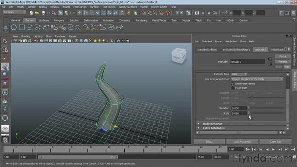 Using NURBS Extrude: Maya Essentials 3: NURBS Modeling Techniques
