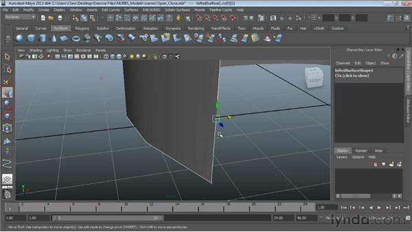Opening and closing surfaces : Maya Essentials 3: NURBS Modeling Techniques