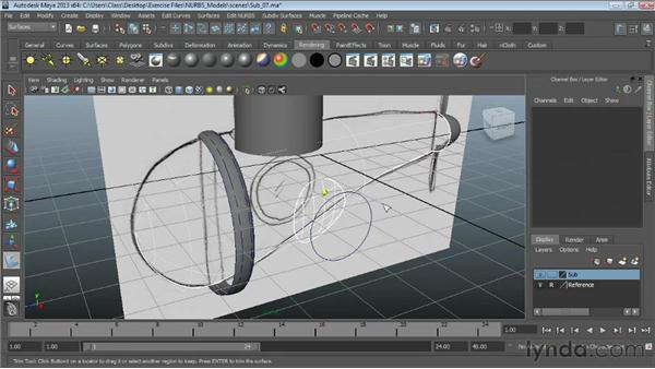 Trimming NURBS surfaces : Maya Essentials 3: NURBS Modeling Techniques