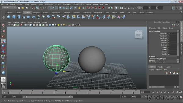 Converting NURBS to polygons : Maya Essentials 3: NURBS Modeling Techniques