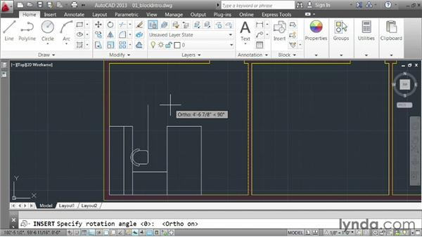Inserting blocks: AutoCAD 2013 Essentials: 05 Working with References