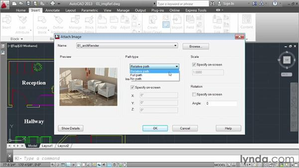 Inserting images: AutoCAD 2013 Essentials: 05 Working with References
