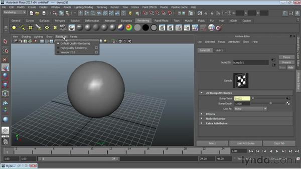Using bump mapping : Maya Essentials 4: Creating Textures and Materials