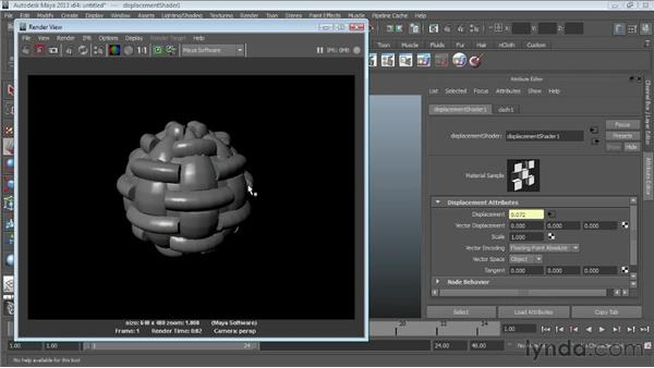 Using displacement mapping : Maya Essentials 4: Creating Textures and Materials