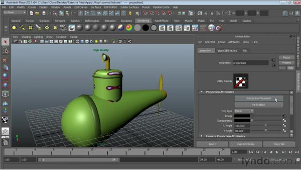 Projecting textures on surfaces: Maya Essentials 4: Creating Textures and Materials