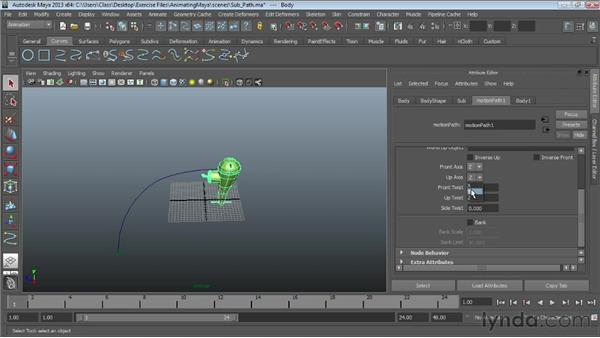 Animating objects along paths : Maya Essentials 5: Animation Tools