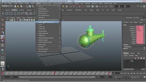 Creating motion trails: Maya Essentials 5: Animation Tools