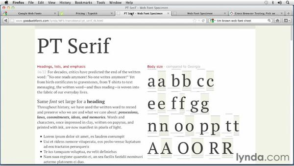 Finding and testing web fonts: Choosing and Using Web Fonts