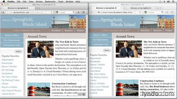 Looking at how using a Venetian font affects the look and feel of a web page: Choosing and Using Web Fonts