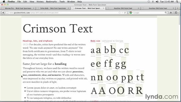 Choosing an Old Style font: Choosing and Using Web Fonts