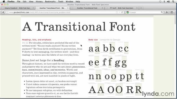Choosing a Transitional font: Choosing and Using Web Fonts