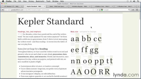 Choosing a Modern font: Choosing and Using Web Fonts