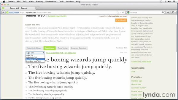 Using Typekit to find and test web fonts: Choosing and Using Web Fonts