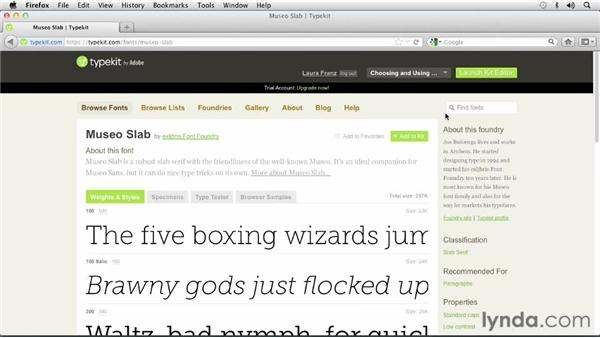 Deleting a font from your Typekit: Choosing and Using Web Fonts