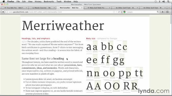 "Choosing ""Other"" Serif fonts: Choosing and Using Web Fonts"