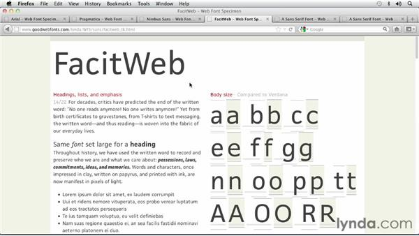 Choosing a Transitional Sans Serif font: Choosing and Using Web Fonts