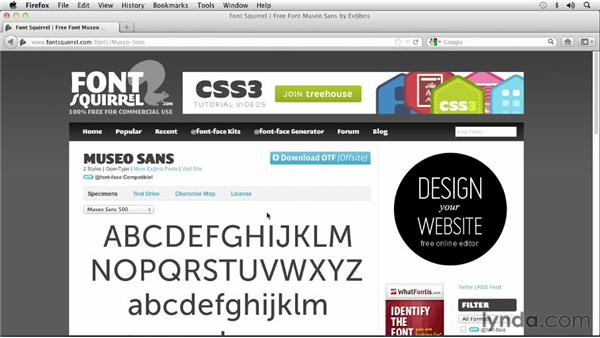 Downloading a free font licensed for use on the web: Choosing and Using Web Fonts
