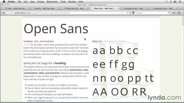 Choosing a Humanist Sans Serif font: Choosing and Using Web Fonts
