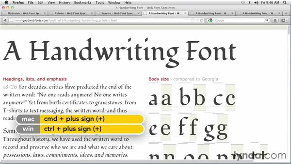 Choosing a handwritten font: Choosing and Using Web Fonts