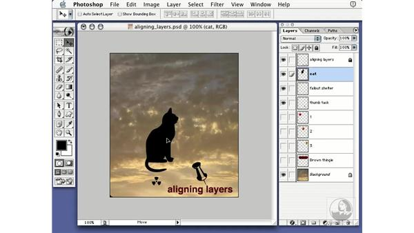 aligning layers: Learning Photoshop 7
