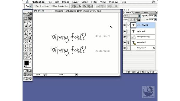missing fonts: Learning Photoshop 7