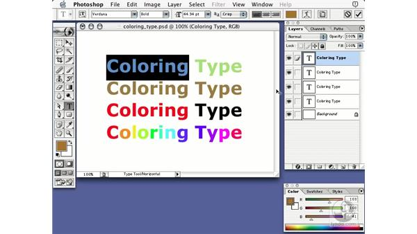 coloring type: Learning Photoshop 7