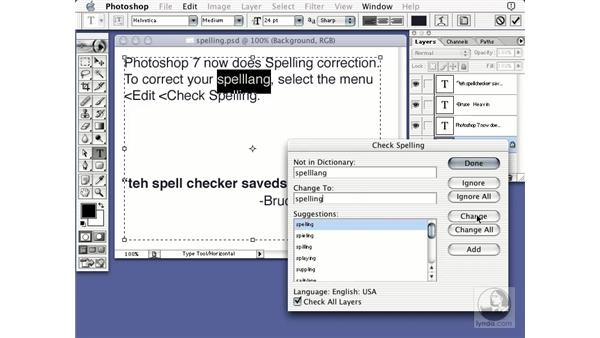 spell checking: Learning Photoshop 7