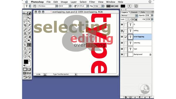 overlapping type: Learning Photoshop 7