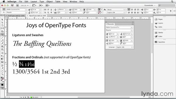 Using OpenType fonts: Print Production Fundamentals