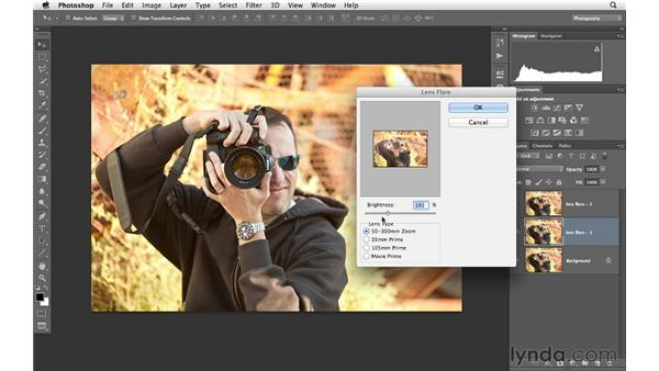 Increasing drama by using multiple lens flare adjustments: Photoshop for Photographers: Creative Effects