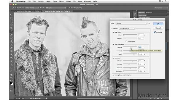 Adding texture and snap to black-and-white images with HDR toning: Photoshop for Photographers: Creative Effects