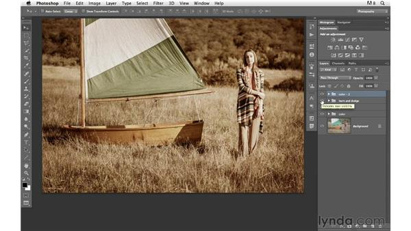 Blending back some original color and adding a border : Photoshop for Photographers: Creative Effects