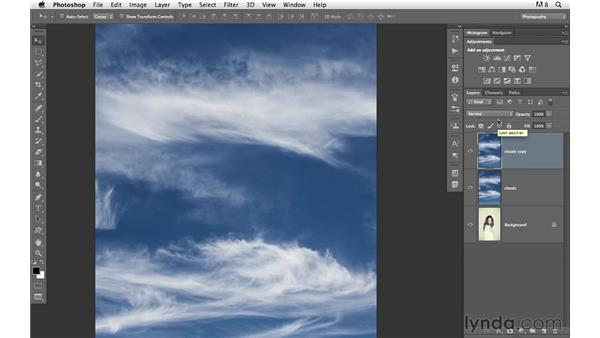 Combining clouds with a portrait for an imaginative effect: Photoshop for Photographers: Creative Effects