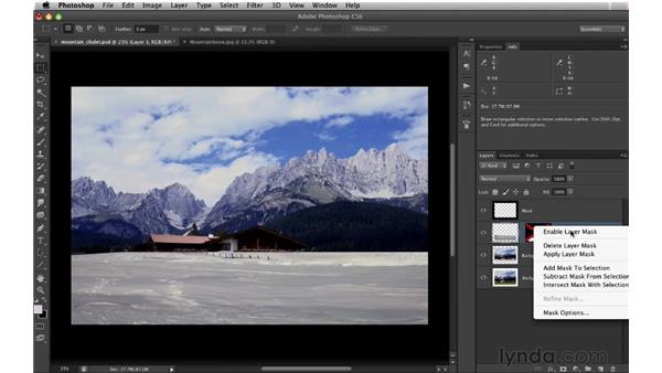 Integrating an outside reference using layer masks: Digital Matte Painting: Changing a Scene From Summer to Winter