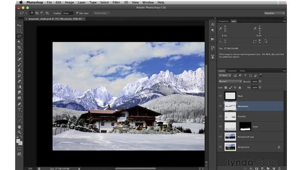 Color correcting the mountains: Digital Matte Painting: Changing a Scene From Summer to Winter