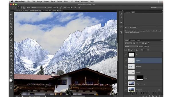 Adding snow to the background trees: Digital Matte Painting: Changing a Scene From Summer to Winter