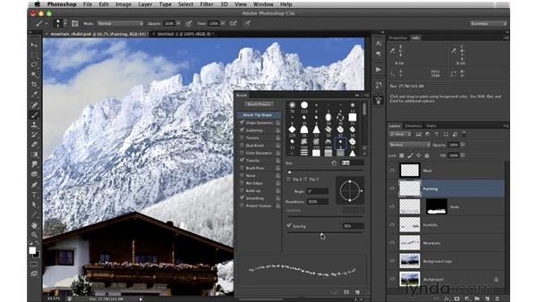 Adding form to the foothills: Digital Matte Painting: Changing a Scene From Summer to Winter