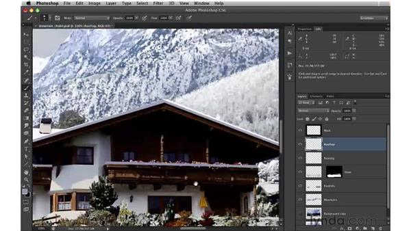 Adding snow to the rooftops: Digital Matte Painting: Changing a Scene From Summer to Winter