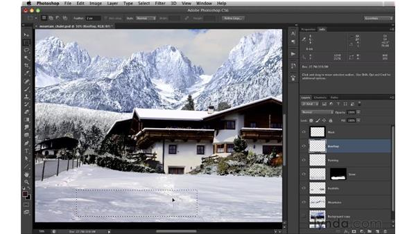 Removing hard shadows: Digital Matte Painting: Changing a Scene From Summer to Winter