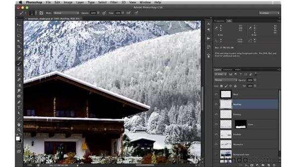 Painting icicles with a custom brush: Digital Matte Painting: Changing a Scene From Summer to Winter