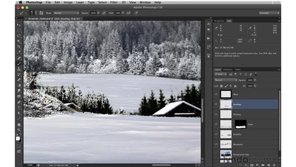 Painting the background trees: Digital Matte Painting: Changing a Scene From Summer to Winter