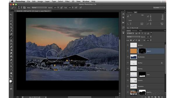 Adding an orange glow: Digital Matte Painting: Changing a Scene From Summer to Winter