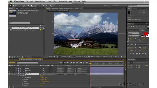 Animating the scene: Digital Matte Painting: Changing a Scene From Summer to Winter