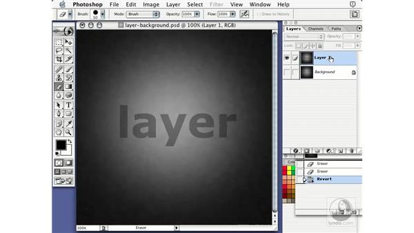 eraser on layer: Learning Photoshop 7