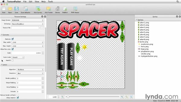 Creating sprite sheets with TexturePacker: Building Flash Games with Starling